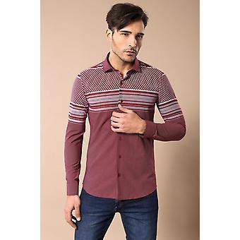 Tryckt bomull vinröd skjorta