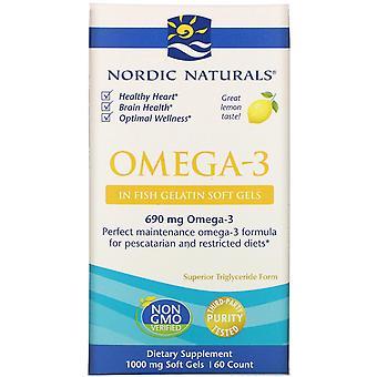 Nordiska Naturals, Omega-3, Citron, 1,000 mg, 60 Mjuka Geler