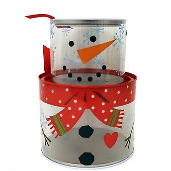Round See Thru Cookie Box X'mas Holiday Snowman Set of 2 tin971707-6
