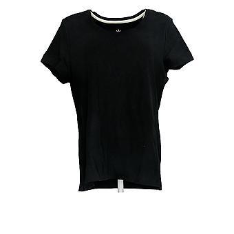Isaac Mizrahi Live! Women's Regular Top Scoop Neck T-Shirt Black A378518