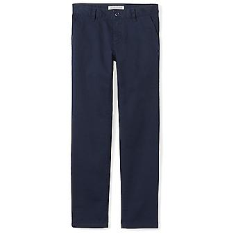 Essentials Big Girls' Flat Front Uniform Chino Pant, Navy,14