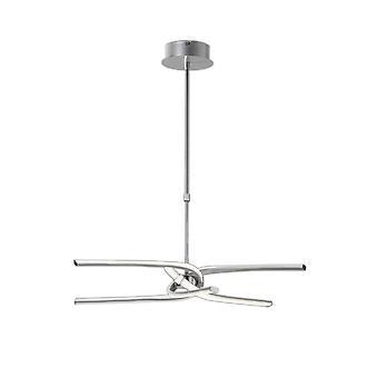 Halvspolningstak 45W LED böjda armar 3000K, 3150lm, dimbar, silver, frostad akryl, polerad krom