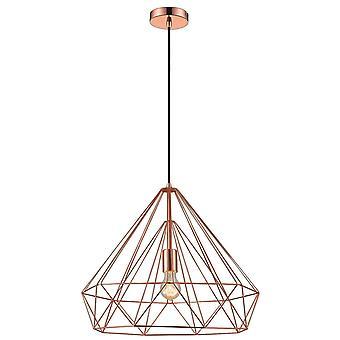 1 Light Wire Large Ceiling Pendant Copper, E27