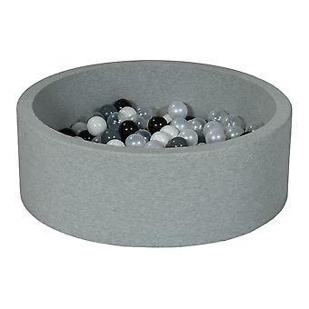 Poço de bola 90 cm com 150 bolas pretas, brancas, mãe de pérola, transparente e cinza