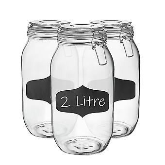 Glass Storage Jars with Airtight Clip Lid and Chalkboard Stickers - 2 Litre Set - Clear Seal - Pack of 6