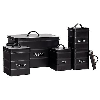 5 Piece Industrial Kitchen Storage Canister Set - Vintage Style Steel Tea Coffee Sugar Caddy with Lid - Black