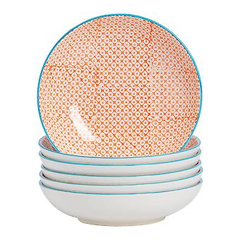 Nicola Spring 6 Piece Hand-Printed Pasta Bowl Set - Japanese Style Porcelain Serving Bowls - Orange - 22cm