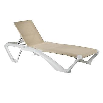 Resol 2 Piece Marina Garden Sun Lounger Bed Set - Adjustable Reclining Outdoor Patio Canvas Furniture - Neutral/White