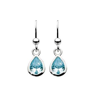 Dew Sterling Silver Blue Topaz Tear Stone Drop Earrings 5031BT