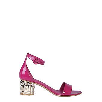 Salvatore Ferragamo 71827901q035 Women's Fuchsia Patent Leather Sandals