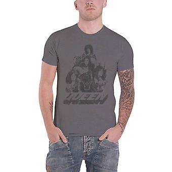 Queen T Shirt 70s Photo Vintage Band Logo new Official Charcoal Grey