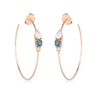 ADEN Gold Plated 925 Sterling Silver MoonStone Peridot Topaz Créoles Boucles d'oreilles (id 4475)