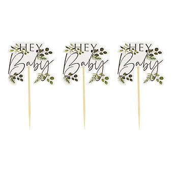 Hey Baby Shower Botanical Cupcake Toppers x 12