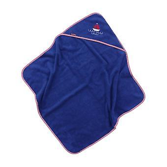 Toalha encapuzada Puckdaddy Björk 103x106cm Toalha de Bebê com Motivo de Barco em Azul