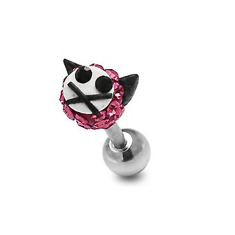 Multi Pink Crystal Stone Kitty Cat Face 16 Gauge 316L Surgical Steel Cartilage Tragus Piercing Jewellery