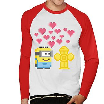 Despicable Me Minion Pixel Love For Fire Hydrant Men's Baseball Long Sleeved T-Shirt
