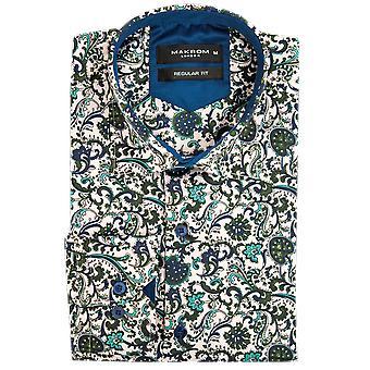 Oscar Banks Satin Floral Print Mens Shirt