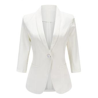 YANGFAN Womens One Buckle Solid Color Casual Blazer