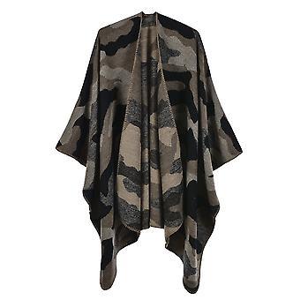 Women's Autumn And Winter Plus Size Camouflage Black Khaki Warm Scarf Blanket Shawl