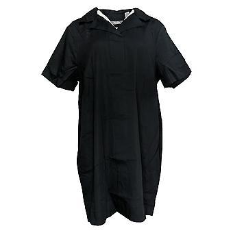 Martha Stewart vestido estiramiento Sateen Notch Collar W / Bolsillos negro A310817