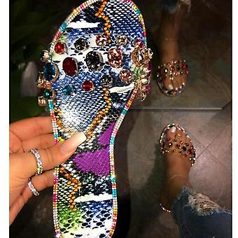 Summer Fashion Bling Female Candy Color Flip Flops Beach Diamond Flat Sandals