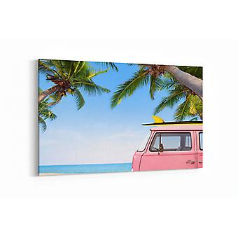 Schilderij - Vintage car parked on the tropical beach — 90x60cm