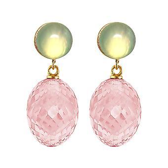 Gemshine Boucles d'oreilles Rose Quartz ovale, chalcédone vert en 925 argent doré