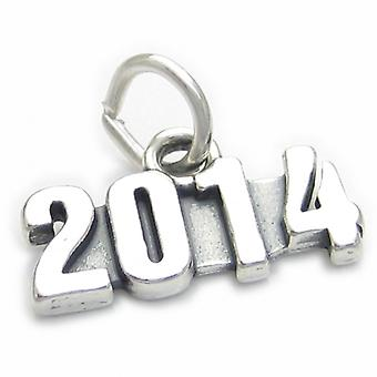 2014 Jahr Sterling Silber Charm .925 X 1 Hochzeit Geburtstag Abschluss - 4009