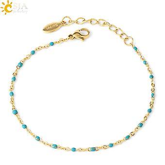 Luxury Stainless Steel Link Chain Beads Bracelet