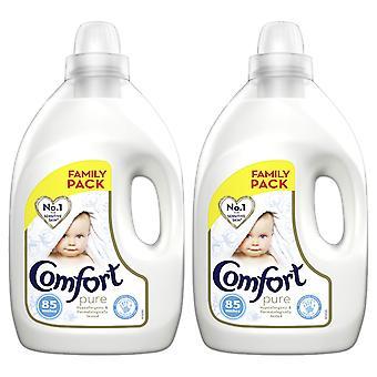 2x of 3L Comfort Pure Hypoallergenic Fabric Conditioner for Sensitive Skin, 85W