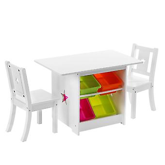 Tavolo per bambini con sedie in legno - 1 tavolo per bambini e 2 sedie per bambini