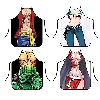 Funny Cartoon Luffy Kitchen  Aprons For Dinner Party Cooking