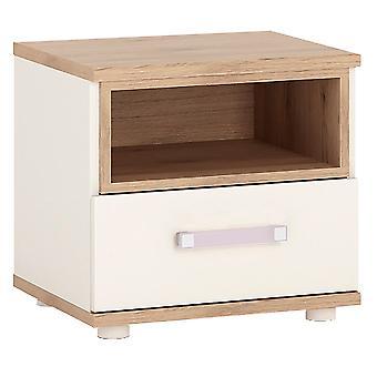 Kiddie 1 Drawer Bedside Cabinet Lilac Handles