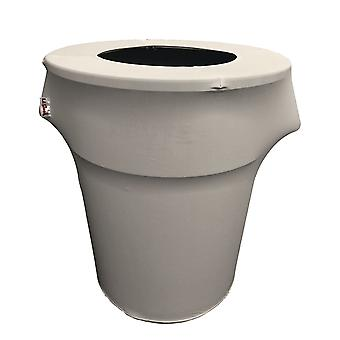 La Linen Stretch Spandex Trash Can Cover 55-Gallon Round, Gris clair