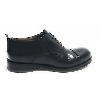 Shoes Men's Cavallini Francesina Scamiciata Leather Washed Color Black Hand Made U18ca04