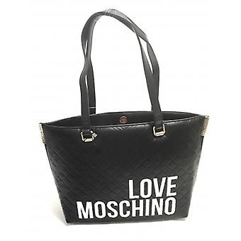 שקית אישה אהבה Moschino קניות Ecopelle מרופד שחור B21mo81