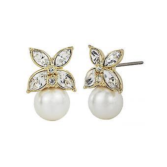 Traveller Pierced Earrings - Gold plated - 8mm pearl - 114225