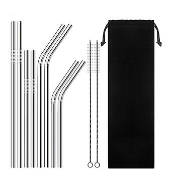 Reusable Drinking Stainless Steel Metal Straw With Cleaner Brush