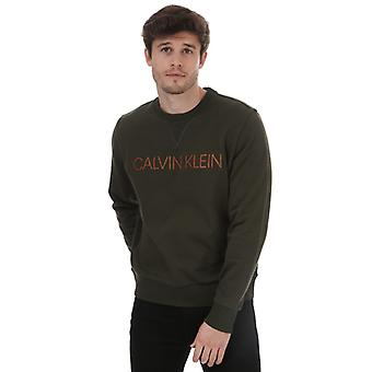 Men's Calvin Klein Embroidery Logo Sweatshirt in Green
