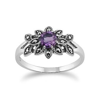 Art Nouveau Style Round Amethyst & Marcasite Floral Ring in 925 Sterling Silver 214R467701925