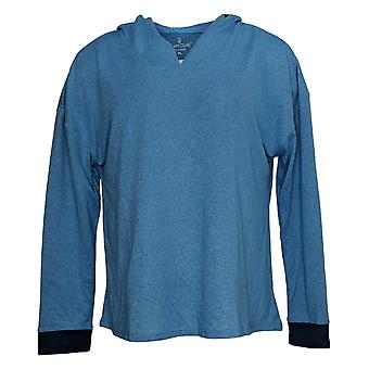 Cuddl Duds Women's Marled Knit Petite Lounge Top Blue A381722