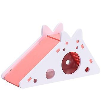 Lindo hámster ejercicio y juguete casa de madera con tobogán escalera para conejillo de Indias