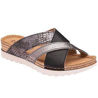 莲花卢卡妇女滑在凉鞋上