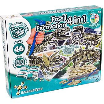 Fossil Aushub 4 in 1, unglaubliche Dinosaurier und Fossilien Spielzeug und Spiel, Bildung und