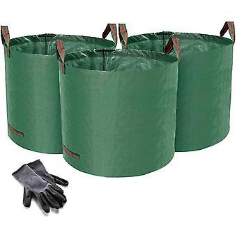 HanFei 3er Set Gartensack, 120L Gartenabfallsack aus robustem Wasserdichtes Polypropylen-Gewebe (PP)