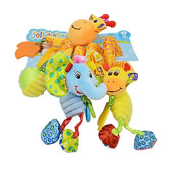 Cartoon Animals Baby Spiral Toy Cute Stroller Hanging Toy With Sound Paper Bb Device Music Box Plush Activity Sipral