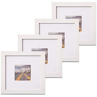 FengChun 4er Bilderrahmen 20x20cm mit Glasscheibe - Zauberstab Wei Fotorahmen fr Portrait/Galerie mit