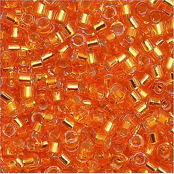 Miyuki Delica Siemenet, 11/0 Koko, 7,2 grammaa, Hopea vuorattu Oranssi DB045