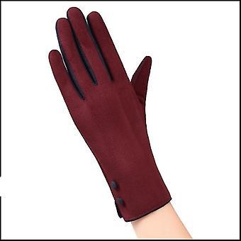 Элегантные женские сенсорные перчатки экрана, зимние дамы Боу перчатки