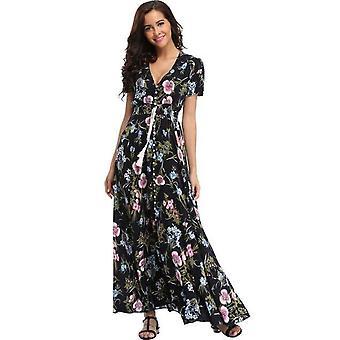 Floral Flower Print Casual Split Maxi Dress